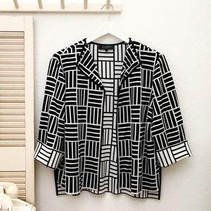 ST JOHN Wool Blend Block Print   Sweater Jacket